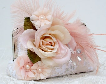 Pink Wedding / Gatsby /  Mother of the Bride / Prom Clutch / Wedding Clutch / Downton Abbey