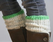 The Chunky Boot Cuff - Made with Fair Trade Wool - Ivory and Neon Lime Green Stripe - Boot Toppers - Plus sizes - Neutral Leg Warmer