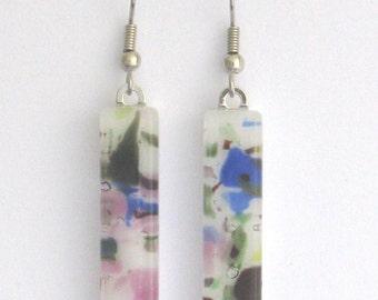Fused  glass earrings,  glass jewelry, Fused glass dangle earrings, EA124