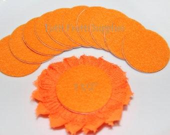 Orange Felt Circle - Adhesive Felt Circle - Felt Circles - Pack of 10 Orange Felt Cirles