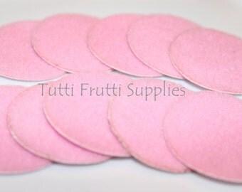 Pink Felt Circle - Adhesive Felt Circle - Felt Circles - Pack of 10 Pink Felt Cirles