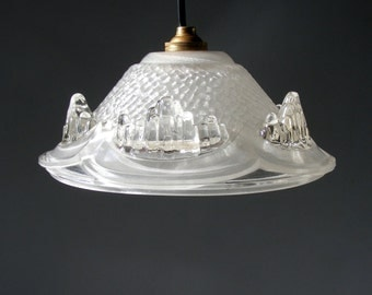 French Vintage Art Deco EZAN Glass Ceiling Light, Icicle pattern.