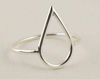 Open Rain Drop Ring, Teardrop Ring, Sterling Silver Ring 925, Thin Ring, Statement Ring, Slim Ring, Modern Ring