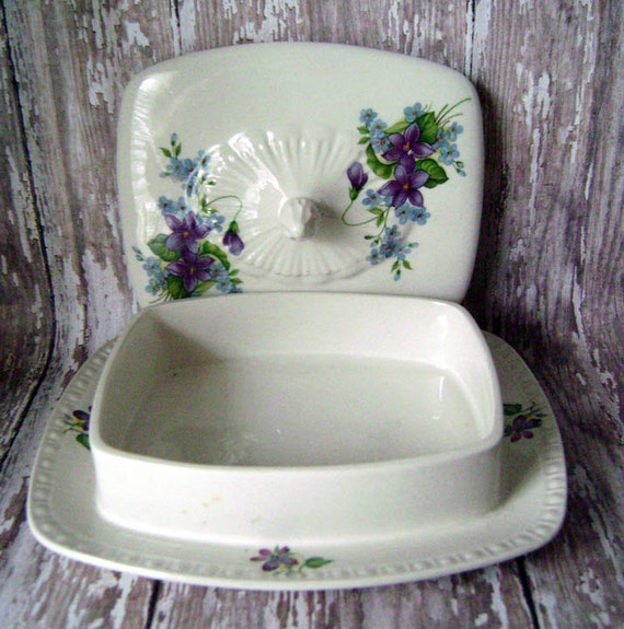 Charming square covered violet dish with tray,English ceramics,purple green white,vintage,vintage china, floral dishware,dishes,anvils attic
