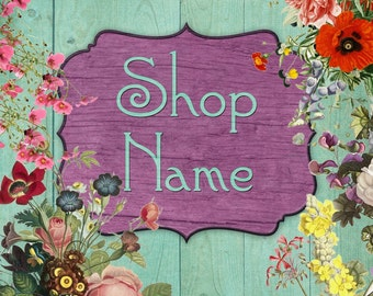 Etsy Shop Banner -  Shop Banner, shabby chic etsy banner, wood etsy banner, floral etsy banner, cottage chic etsy banner