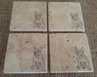 Natural Tumbled Marble Stone French Bulldog Coasters