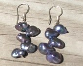 Peacock Keshi Pearl Stacked Earrings with Sterling Silver. Pearl Earrings. Staggered Earrings. Freshwater Pearl Earrings