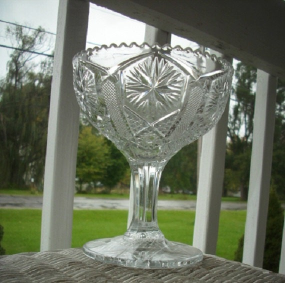 Glass Star Centerpiece : Antique eapg pedestal compote vase by invitinglyvintage