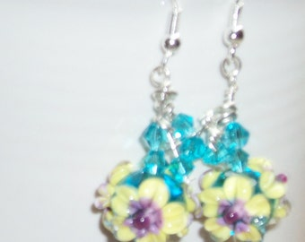 Handmade Lampwork Beads YELLOW FLOWER Pair - by an Sra Artist - Sterling Silver Ear Wires