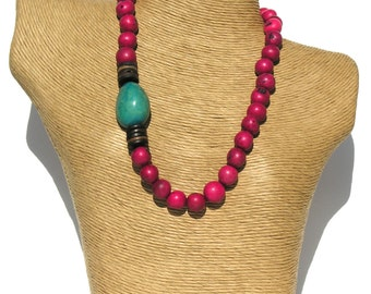 Classic  Fuchsia Pink Pambil- Turquoise Tagua Seeds Necklace.
