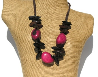 Exotic Bold Tiger Ebony Wood-Fuchsia Natural Tagua Necklace.