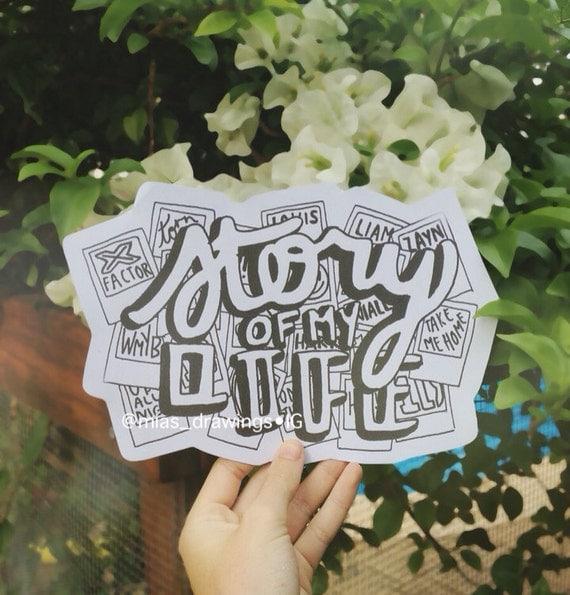 One Direction Story of my Life lyric art b/w by Miasdrawings
