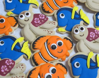 Under the Sea Cookies - Ocean Coral Reef Theme Birthday Party Favors, Clownfish, Blue Tang, Sea Turtle, Clown Fish, Custom Cookies