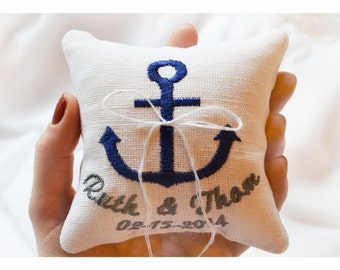 Nautical Embroidered Wedding ring pillow , anchor wedding pillow ,personalized  ring pillow, ring bearer pillow with Custom embroidery (LR7)