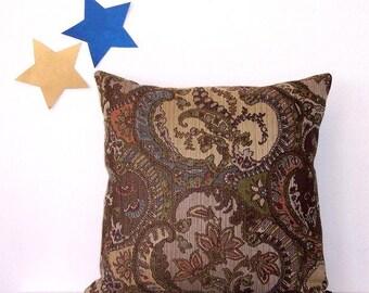 Floral 18x18 Pillow Cover, Decorative Tan Green Blue Peach Accent Pillow, Throw Sofa Cushion Cover, Brown Floral Pillow Sham