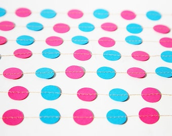 MA, Birthday party decorations - Garland - Birthday decorations - Blue & fucsia pink - Paper garland - Graduation decor - Bachelor - Nursery