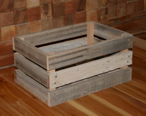 Barn wood milk crate medium by lunarcanyon on etsy for Where can i buy wooden milk crates
