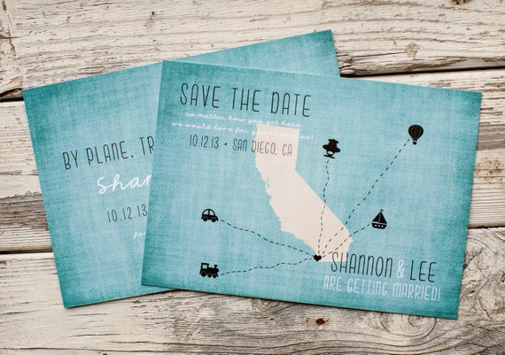 Destination Wedding Save the Date, rustic Save the Date - The Traveler - rustic wedding, wedding stationery, state save the date, unique