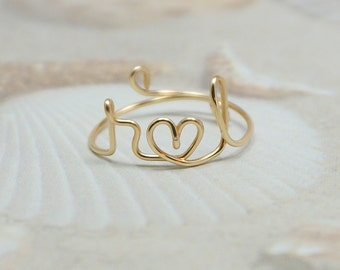 2 Initials and a heart ring, personalized wire initial ring, wire ring, personalized ring, adjustable ring, wire letters, 2 initial ring