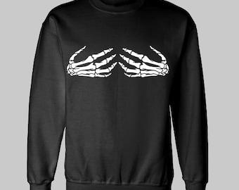 SKELETON HANDS on BOOBS sweatshirt sweat shirt
