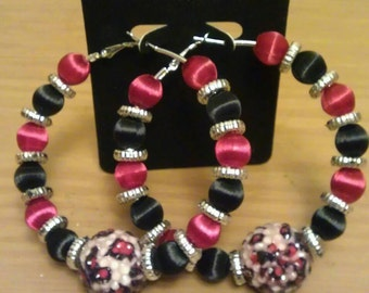 Love and Hip Hop and Basketball wives inspired hoop with burgundy and black beads