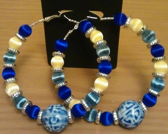 Love and Hip Hop and Basketball wives inspired hoop with blue and ivory beads