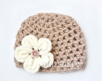 Beige Crochet Flower Baby Hat, Crochet Baby Beanie, Size: 0 - 3 Mo READY to ship, Made to Order