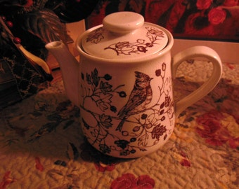 Vintage Enesco Tree Song Fine Stoneware tea pitcher