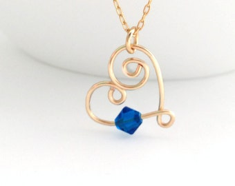 Heart Necklace, Birthstone Necklace, September Birthstone, Bridesmaid Gift, Sapphire Necklace