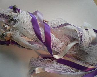 100 Ribbon & Lace Send Off Wands with Bells (100)