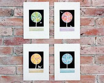 Watercolor painting Set of four tree giclee print of watercolor painting, wall decor, tree illustration by VApinx