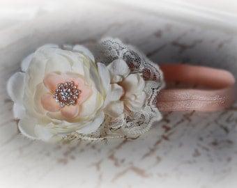 Peach and ivory baby headband, shabby chic roses headband, newborn head band, headbands