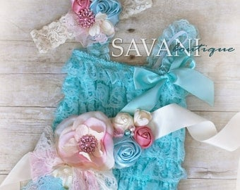 lace baby romper,Vintage shabby chic lace set, 3 pieces aqua and coral lace romper set , headband and belt, Baby Girl Photo Prop