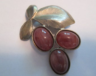 Vintage Signed Plum Brooch From The 1980s