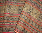Handwoven brown batik cotton applique from Thailand - 100% handwoven Hmong cotton brown design  - indigo batik ethnic textile material