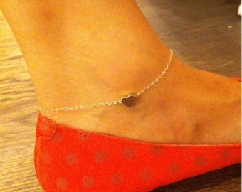 Heart gold filled anklet, perfect for everyday, gift for her