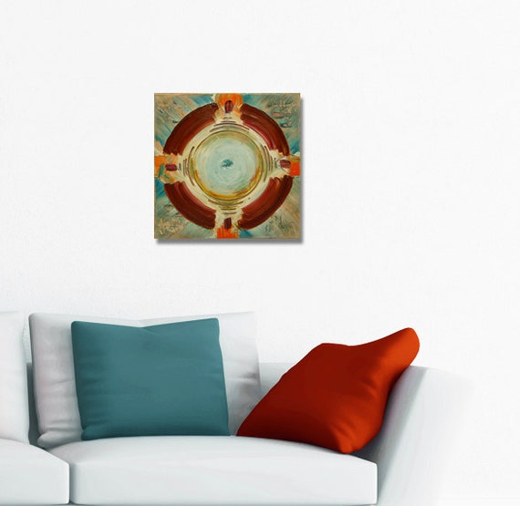Mandala painting spiritual art meditation art mandala art geometric art circle brown orange blue