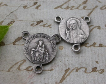 French vintage 10pcs brass based rosary medal silver gold religious medal virgin mary our lady bronze vintage charm