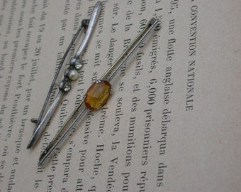 2pcs French  antique sterling silver 1930s brooch sterling silver long brooch stamped  amber crystal rhinestone brooch white pearl