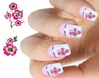 Water Slide Nail Decals Stickers, Nail Art Transfers, Cherry Blossom