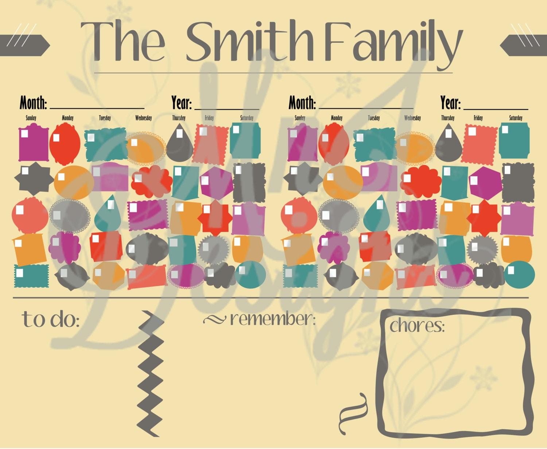 Calendar Poster Size : Poster size double calendar pdf family schedule to do