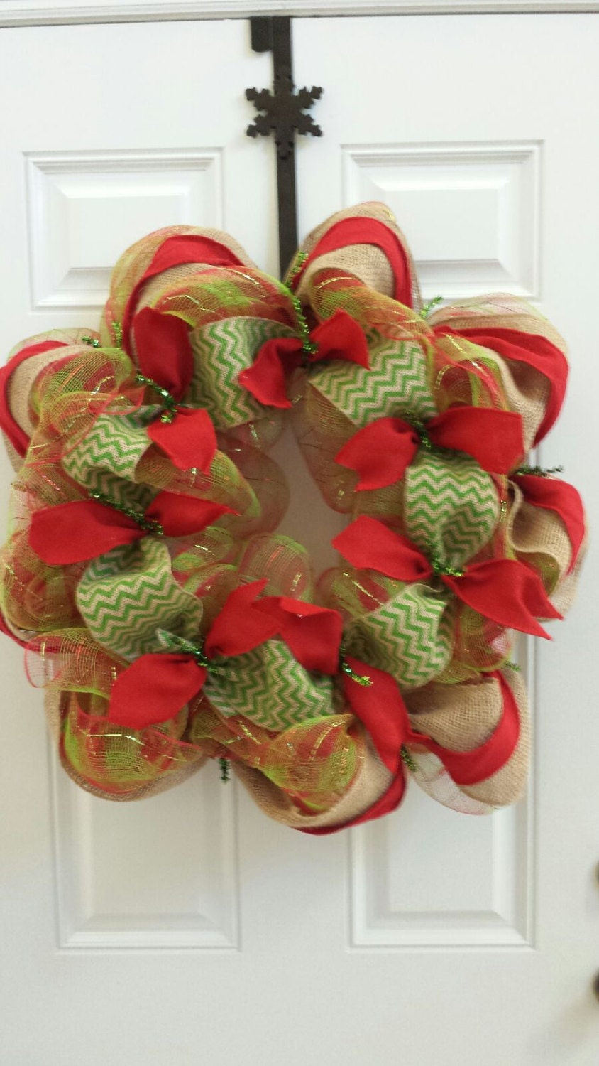 ChristmasRed and Lime Green Deco Mesh & Chevron Burlap Wreath with a Merry Christmas Sign