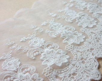 2 Colors Tulle Lace Trim Milk White Beige Cotton Floral Embroidered Scalloped Lace Trim 8.66 Inches Wide 1 Yard Costume Headware Supplies
