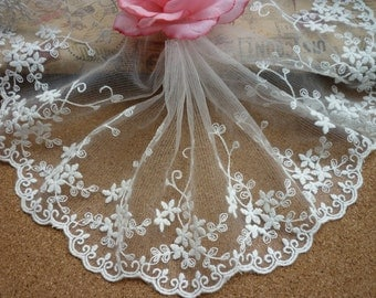 Lace Trims Off White Cotton Scalloped Floral Embroidered Tulle Lace Trim 4.72 Inches Wide 2 Yards Costume Headware Supplies