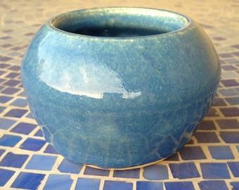 Small Decorative Ceramic Pot (Blue)