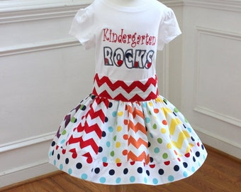 back to school outfit back to school skirt set kidergarten rocks shirt with matching chevron skirt chevron polka dot skirt first grade girls