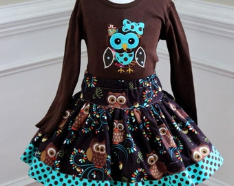 Girls owl outfit Toddler baby girl owl clothing Fall skirt set for girls size 2t 3t 4t 5 6 8 10 skirt in brown and teal polka dots