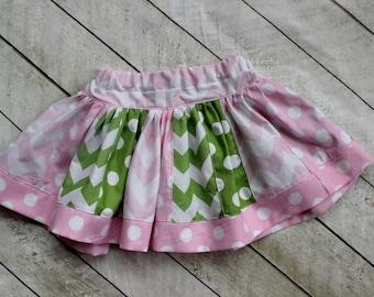chevron skirt chevron pink and green skirt tractor skirt girls polka dot chevron skirt skirt birthday chevron stripwork skirt toddler