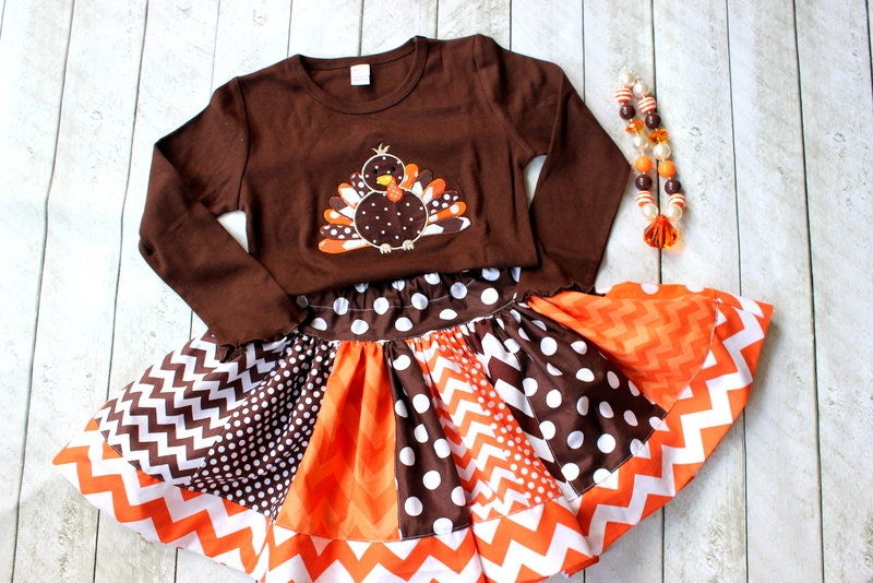 Girls Thanksgiving Outfit Turkey Outfit By LightningBugsLane