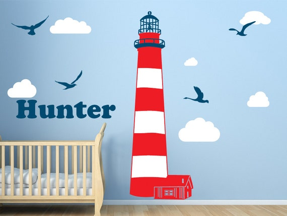 lighthouse vinyl wall decal set large lighthouse by walljems lighthouse silhouette wall sticker wall stickers